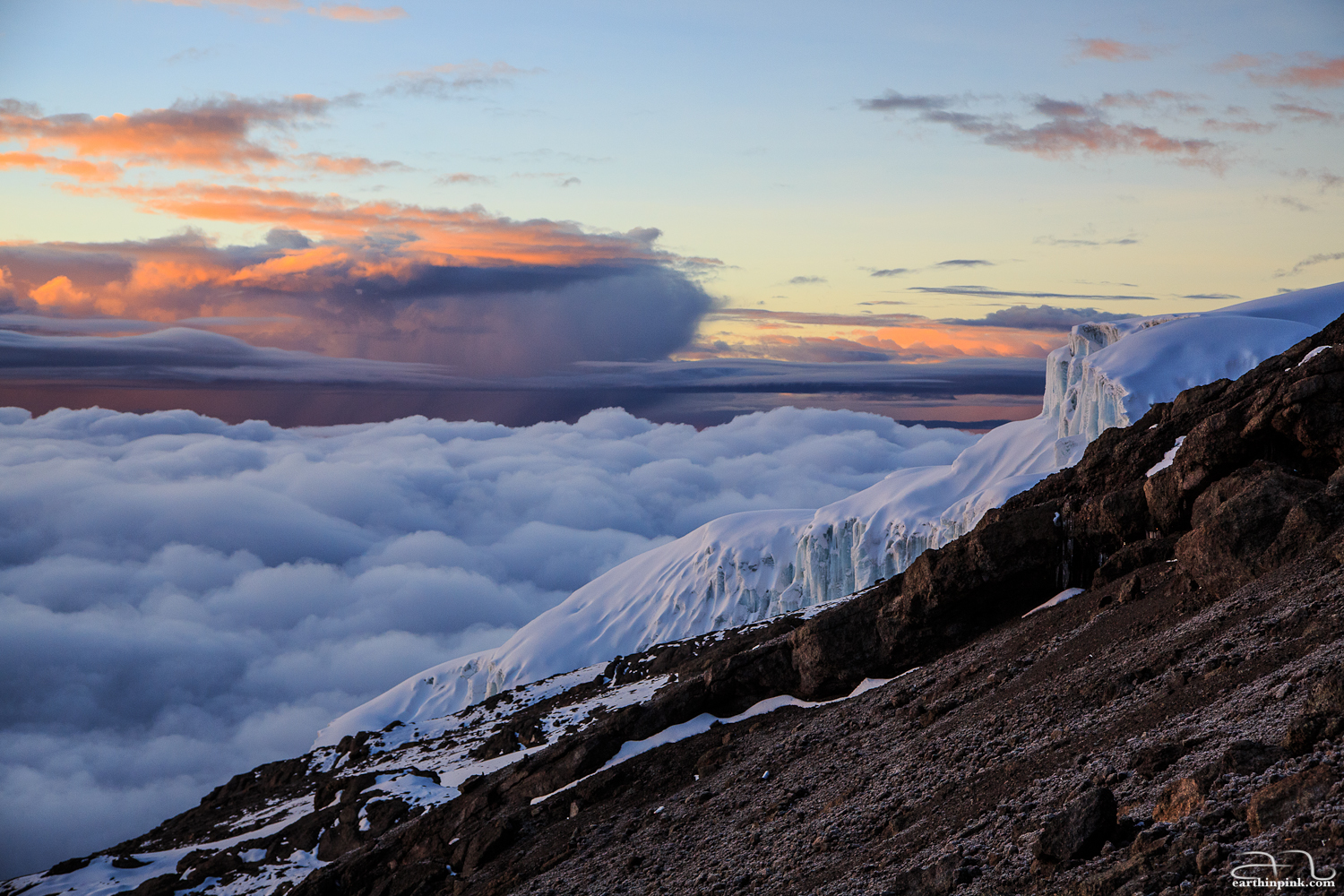 Glaciers on the slope of Mt. Kilimanjaro, Tanzania