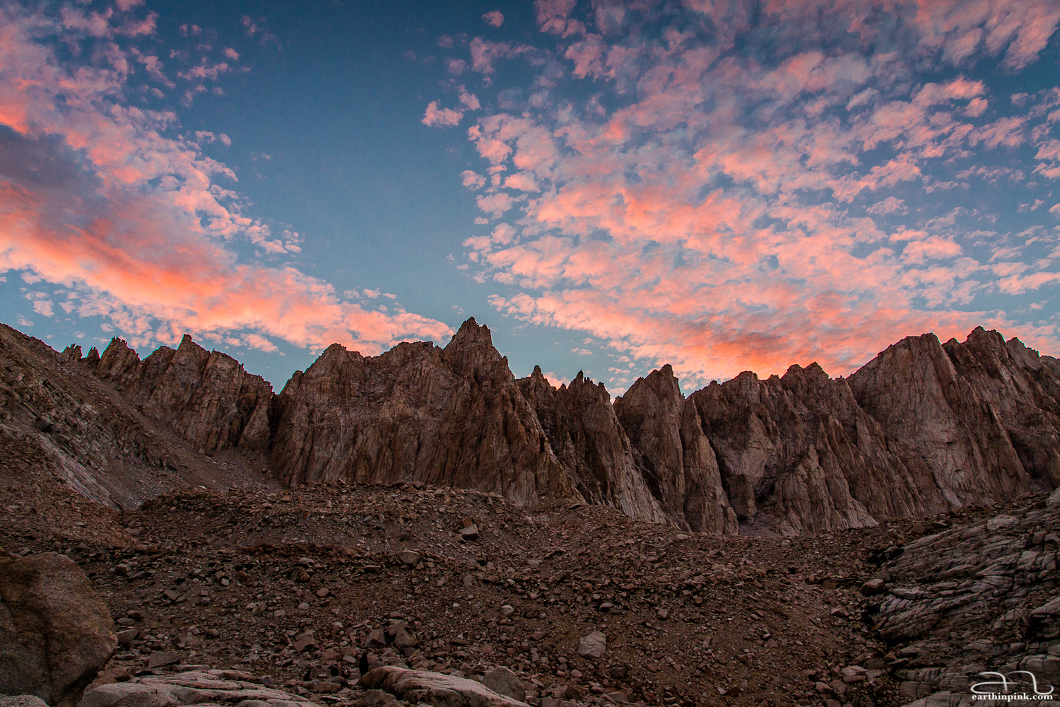 Sunset from Trail Camp on the Mount Whitney trail, California.
