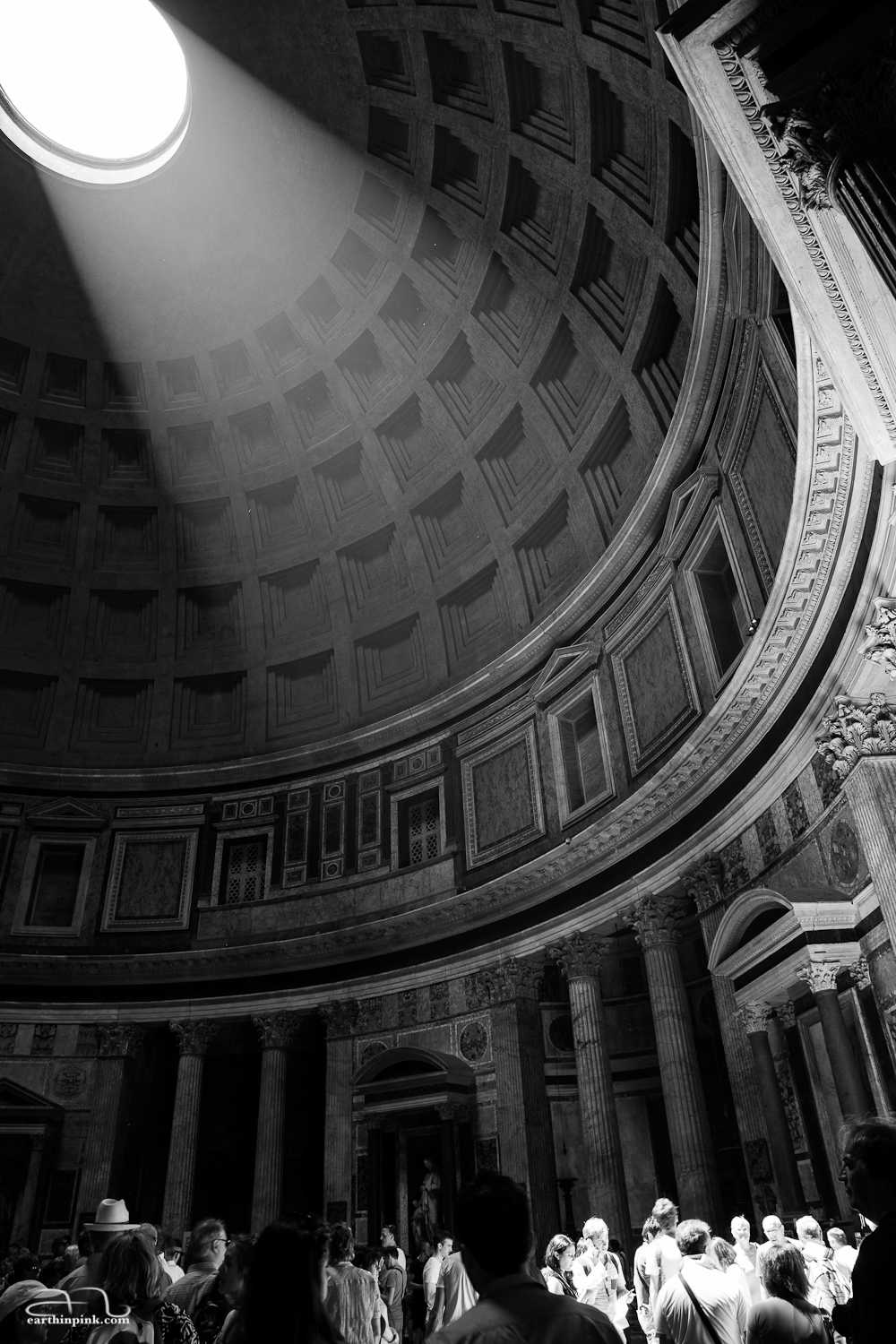 Sun shining through the roof of the Pantheon, Rome, Italy