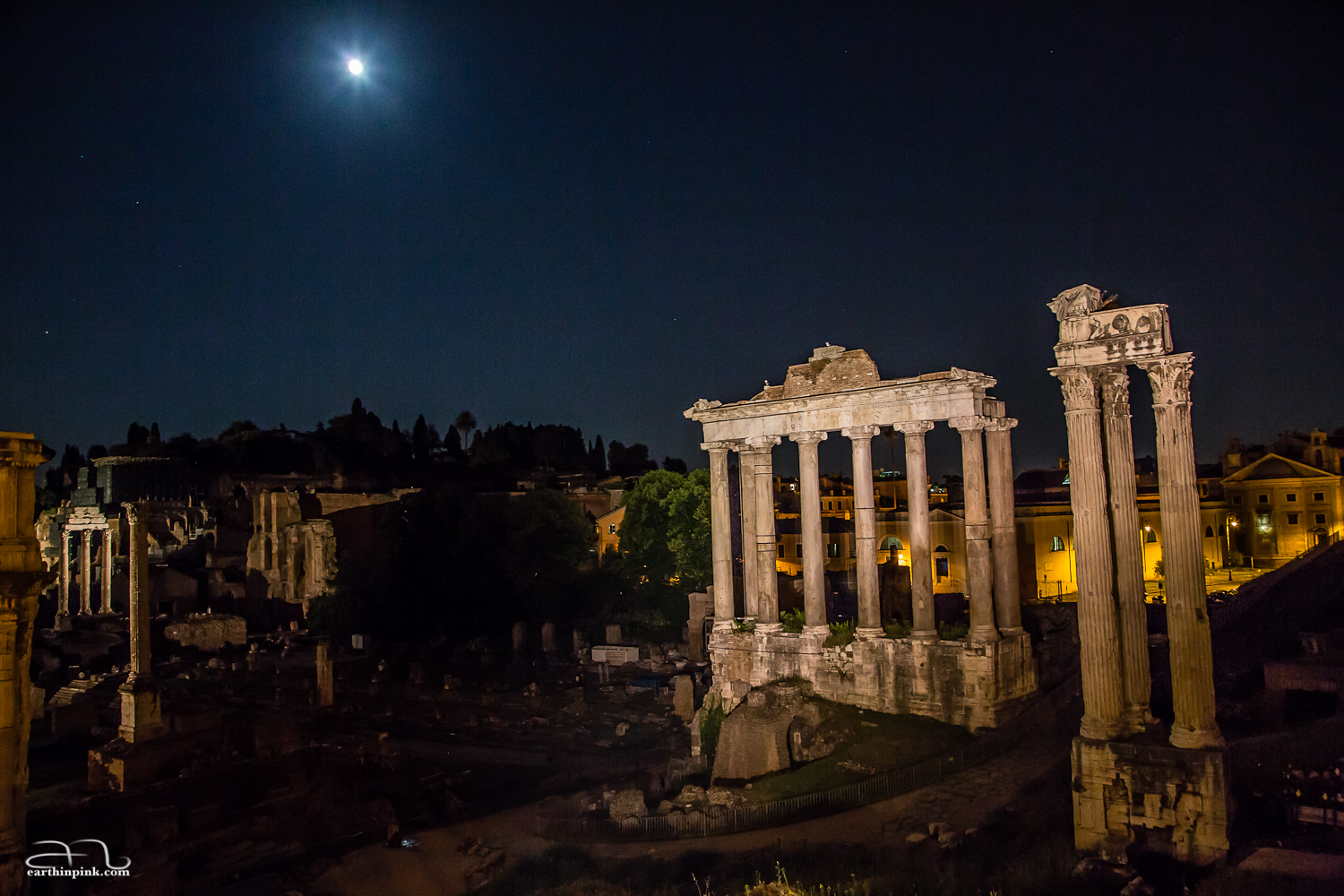 The Roman Forum lit by reflectors and an almost-full Moon