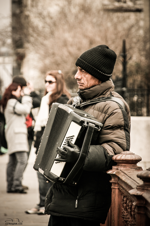 Street musician near Notre Dame de Paris