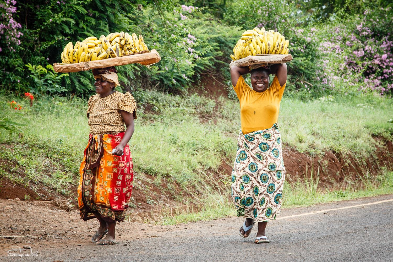 Ladies selling bananas in Moshi, Tanzania.