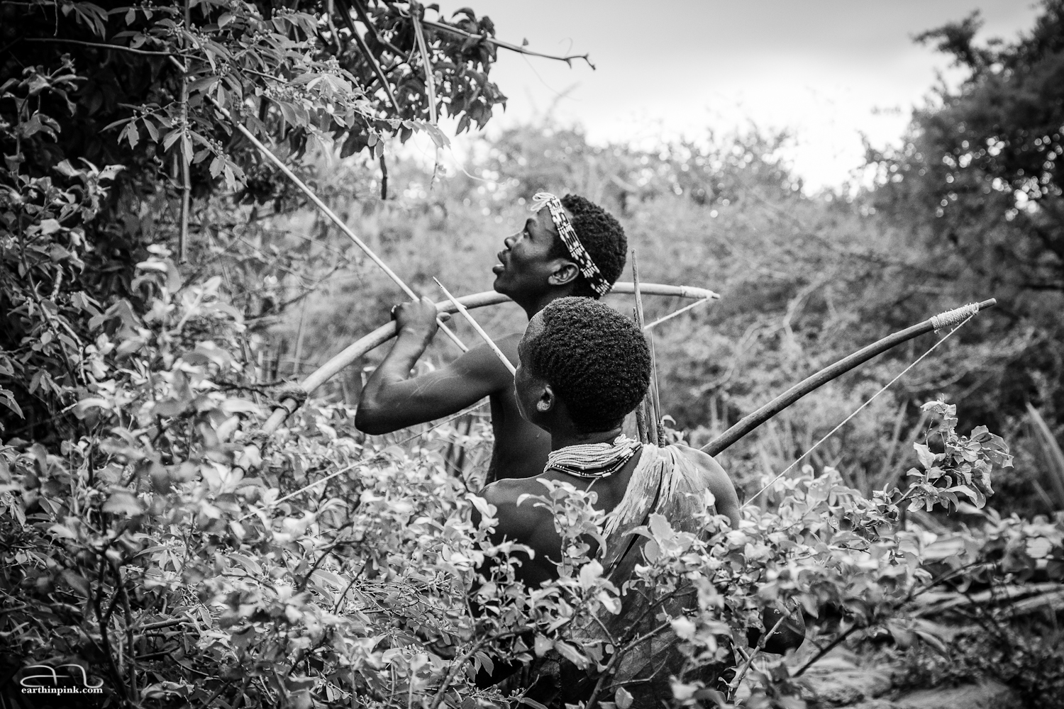 Hadzabe bushmen hunting for food near Lake Eyasi, Tanzania.