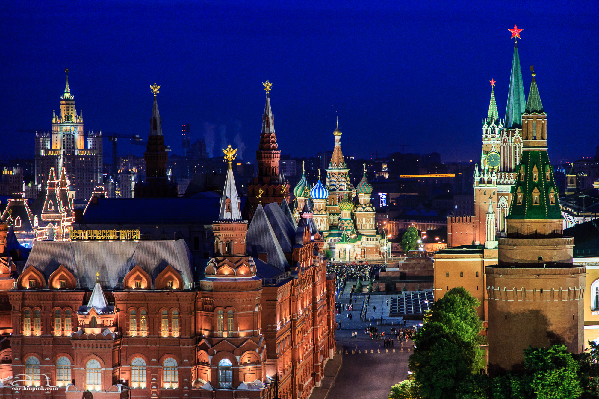 View of the Red Square from the O2 Lounge at the top of the Ritz Carlton in Moscow.