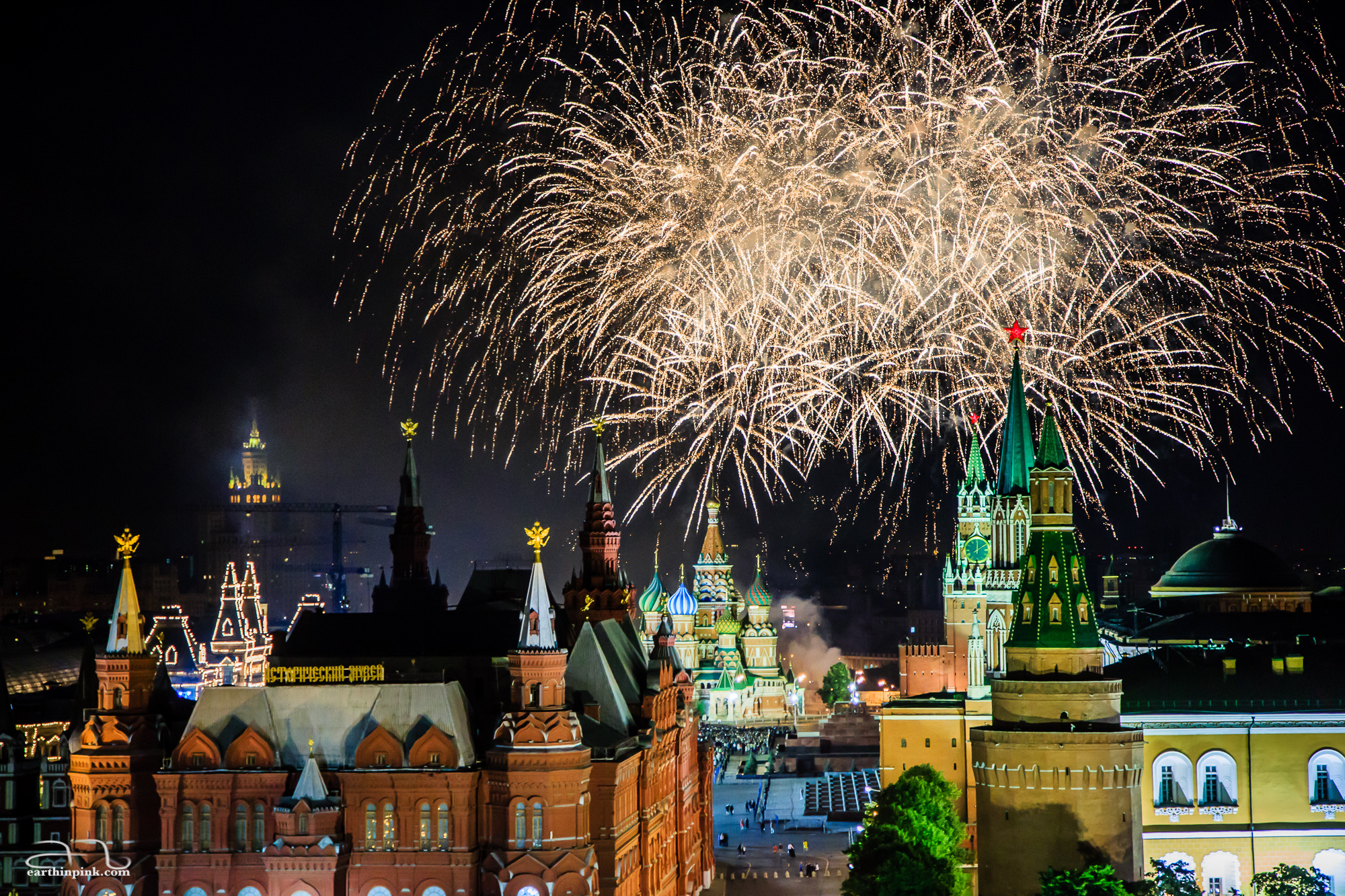 Fireworks above the Red Square in Moscow, in honor of the students' graduation from high school. I admire them for celebrating this kind of event in so much style!