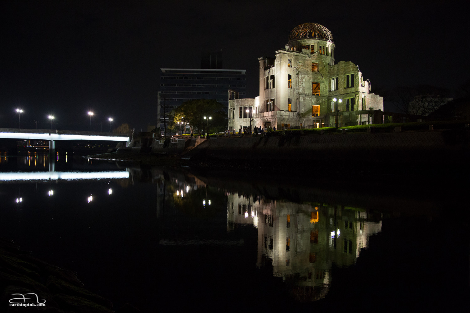 A night photo of the Atomic Bomb Dome at the Hiroshima Peace Memorial Park - the single most powerful symbol of a history lesson that must never be forgotten.