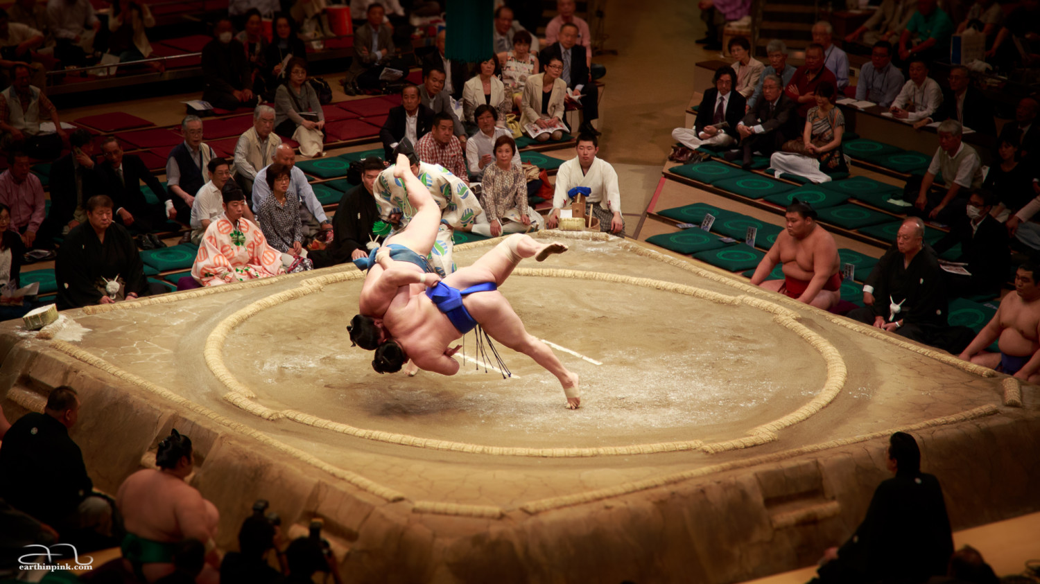 An unusually action-packed sumo wrestle at the tournament in Tokyo in May 2014. Most fights are over in the blink of an eye with one of the wrestlers stepping outside the ring, but this was a captivating exception.