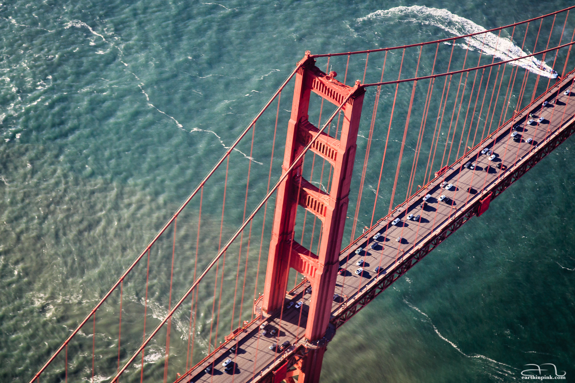 Looking down on the Golden Gate bridge in the late afternoon light.