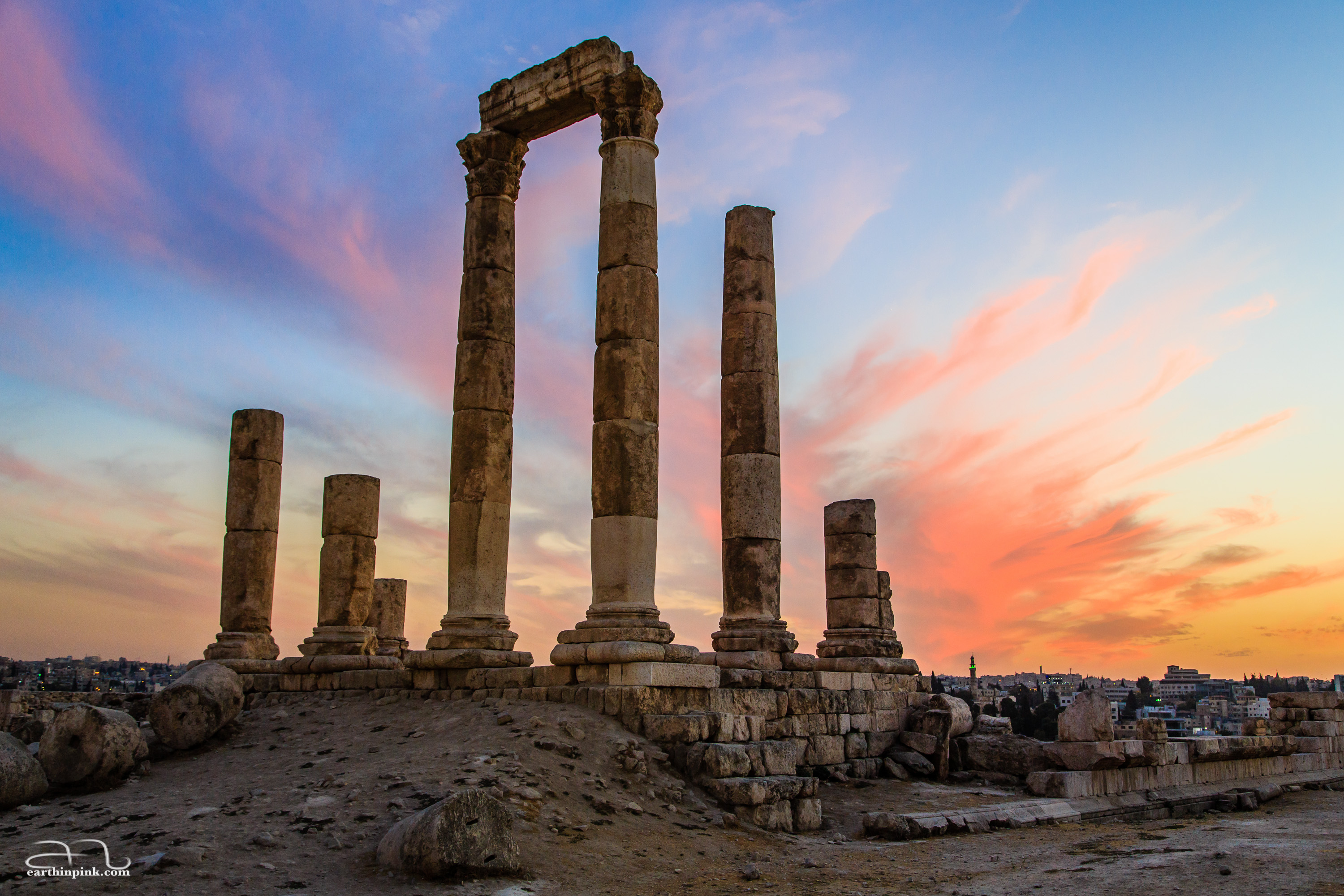 Sunset colours over Amman citadel