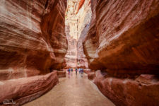 Narrow canyon entrance to the ancient city of Petra