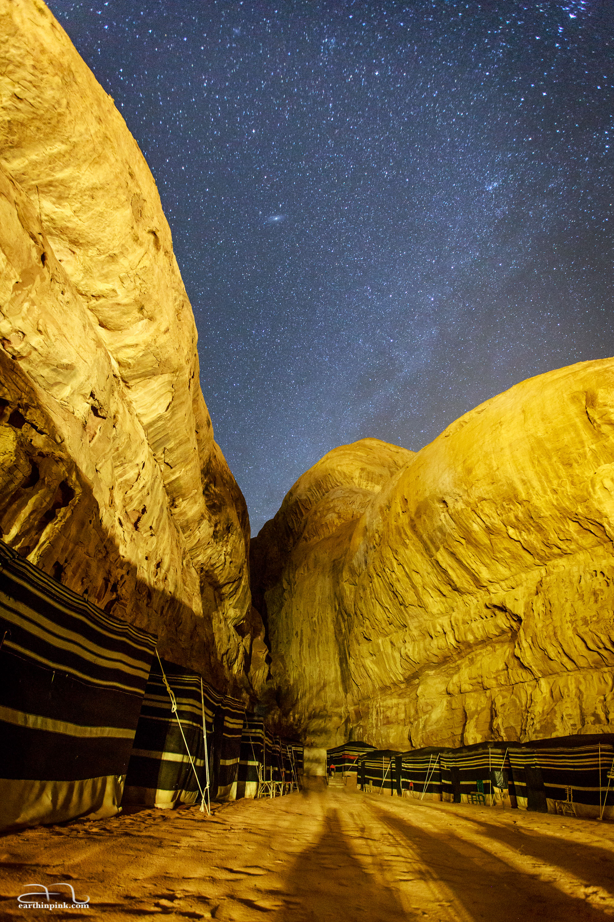 Starry night with a view of Andromeda over our bedouin camp in Wadi Rum.