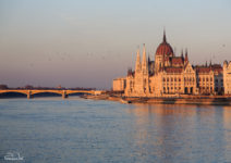 The Danube flowing in front of the Hungarian Parliament, Budapest