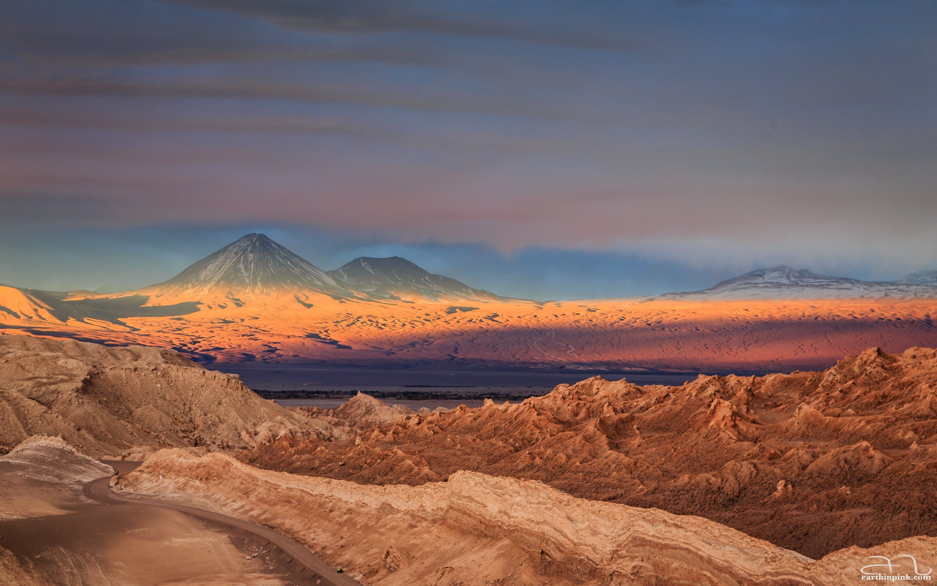 Sunset over Valley of the Moon, San Pedro de Atacama, Chile