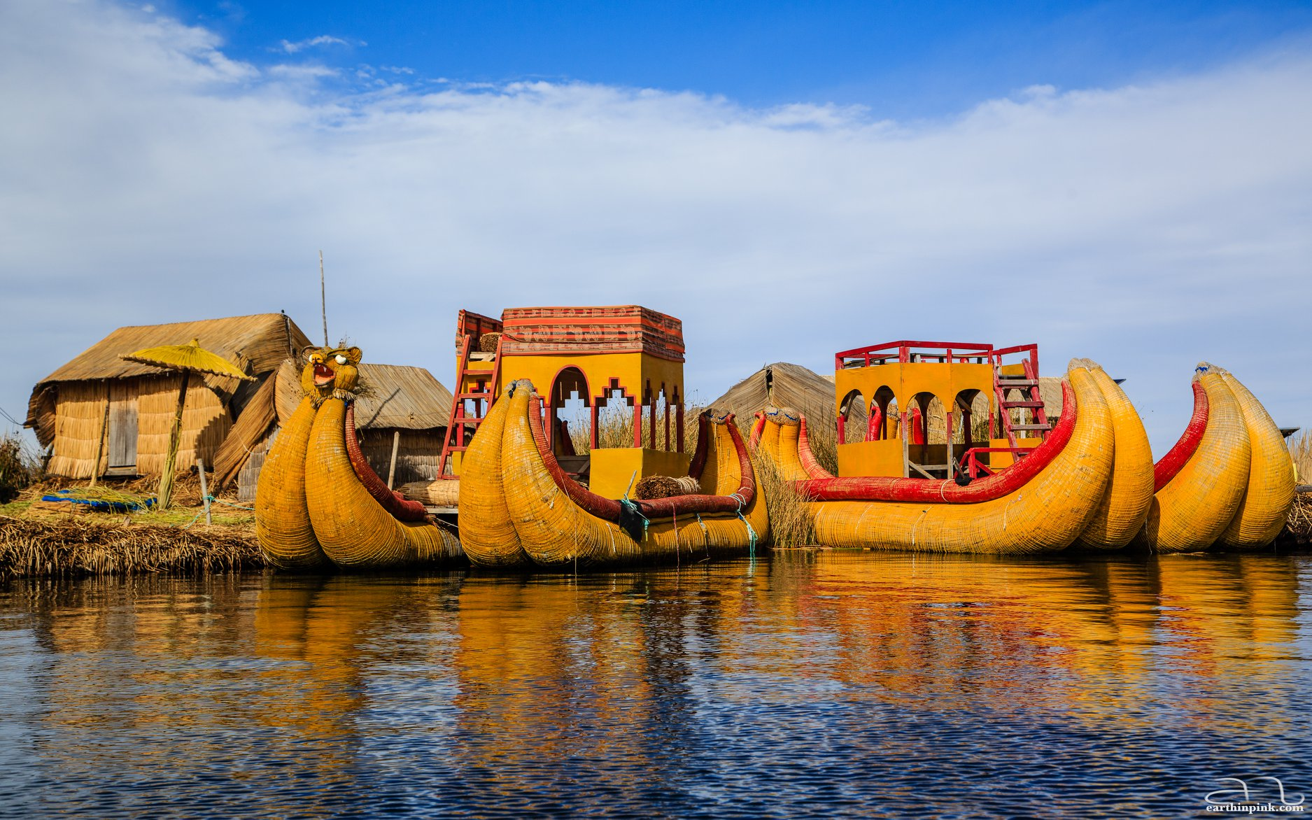 Uros floating islands, traditionally made entirely out of reeds, on Lake Titicaca, Peru